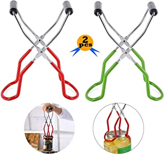 2 Pcs Canning Jar Lifter Tongs, Stainless Steel Jar Lifter with Grip Handle for Safe and Secure Grip, Anti-Scalding Feedin...
