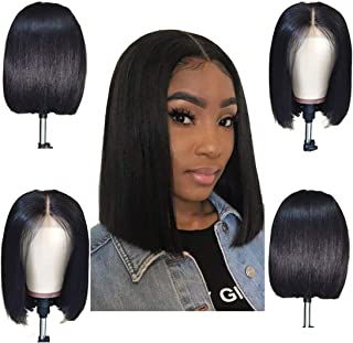 ORIGINAL QUEEN Bob Straight Wig 13X4 Lace Front Wigs With Pre Plucked Hairline Lace Frontal Human Hair Wigs Natural Color 10inches