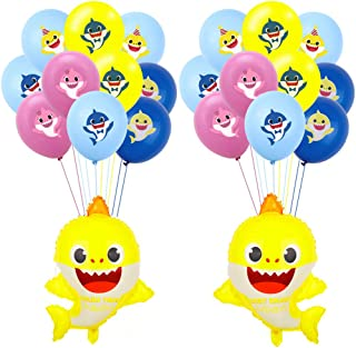 SAKOLLA Shark Helium Balloons and Latex Balloon Set - 26 Pcs Shark Balloons for Sea World Shark Theme Birthday Party Decorations Baby Shower Party Supplies