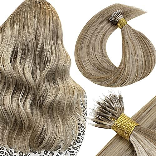 LaaVoo 50cm 50Stuck/Set Micro Ringe Haarverlangerung Echthaar Extensions Remy Nano Stick Bondings Individuell Naturlich Hellbraun Highlighted Platinblond #8P60
