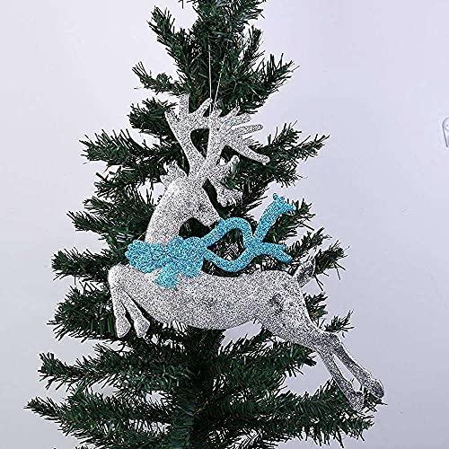 Gmasuber Adornos de Navidad, colgantes de madera, decoración de ciervos, decoración de árbol de Navidad, colgantes de viruta de madera, adornos de Navidad, accesorios para Navidad