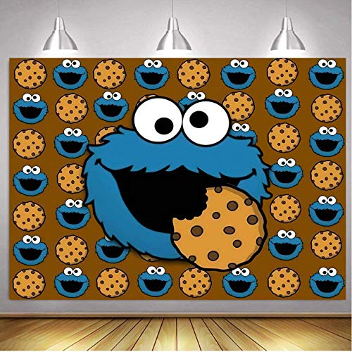 Cookie Monster Backdrop for Birthday Party Sesame Street Backdrop Cartoon Backdrop Cookie Monster Birthday Party Decoration Cookie Monster Birthday Party Supplies Banner 5x3ft