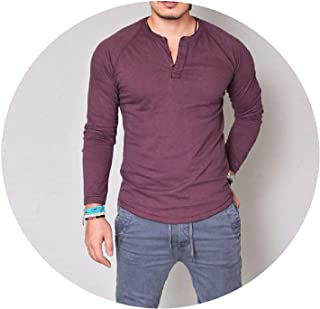 Fashions Slim Fit Long Sleeve T-Shirts Stylish Luxury V Neck Cotton Tops Tee Plus Size