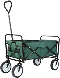 Collapsible Shopping Trolley 4 Wheeled Camping Folding Cart Utility Wagon for Mall Shopping, Garden Outdoor Park Picnic Ca...