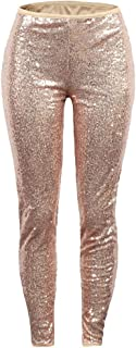 Women's Sequins High Waist Loose Casual Club Pants Trousers