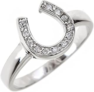 Lucky .925 Sterling Silver and Cubic Zirconia Studded Horseshoe Band Ring