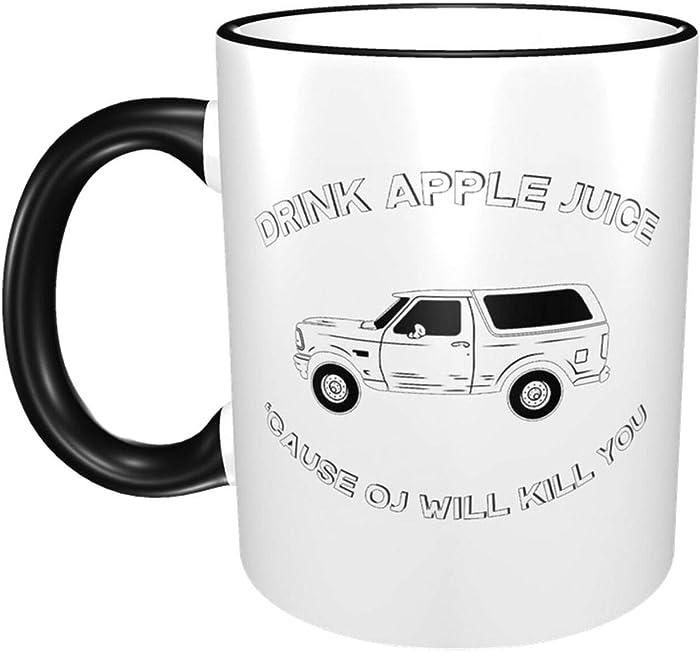 Drink Apple Juice OJ Will Kill You Color changing mug in the sky Funny Ceramic Morning Mug Cartoon Anime Game Coffee Milk Tea Mug