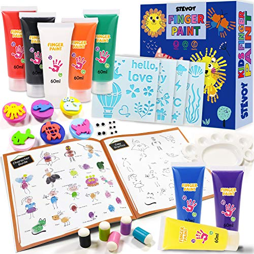 STEVOY Finger Paint Kit for Toddler, 8 Colors, with Guiding Book, Non-Toxic; Washable Paint; Kids Paint Set, Art Paint Suppliers Gift for Kids