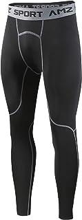 AMZSPORT Hombres Legging de Compresión Pantalones para Correr Mallas Deportivas para Gimnasio