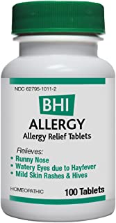 BHI Allergy Relief Tablets - Soothes Minor Allergy Symptoms - Homeopathic Formula - 100 Count