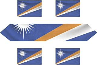 CoolPrintAll Marshall Islands Flag Rectangle Table Runner 13 x 90 inch with Placemat Table Mat 12 x 18 inch Set of 6, for Wedding, Party, Dinner, Home Decor
