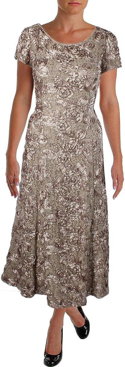 Alex Evenings Women's Long A-line Rosette Dress