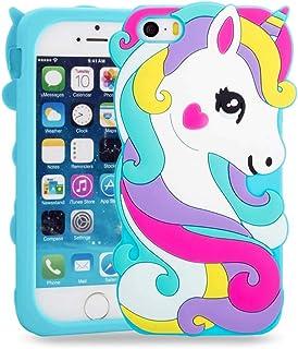 78a8ebafd5c BJTRADE Funda iPhone SE/5S/5C/5, Divertidas 3D Unicornio de Silicona