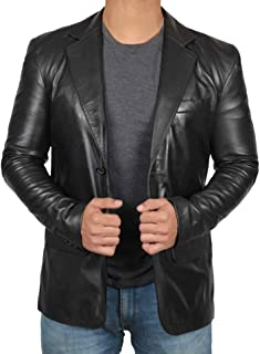 Mens Leather Blazer - Lambskin Leather Casual Blazer Jacket for Men