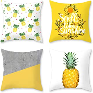 OATHENE Set of 4 Decorative Throw Pillow CoversCute Bright Yellow Pineapples Cotton Linen Cushion Sofa Bedroom CarHome Dec...
