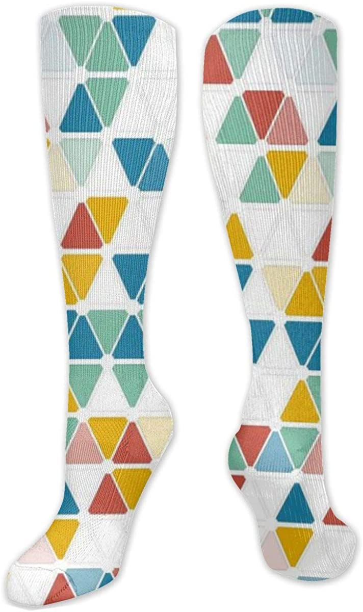 Colorful Triangles Seamless Loop Geometric Knee High Socks Leg Warmer Dresses Long Boot Stockings For Womens Cosplay Daily Wear