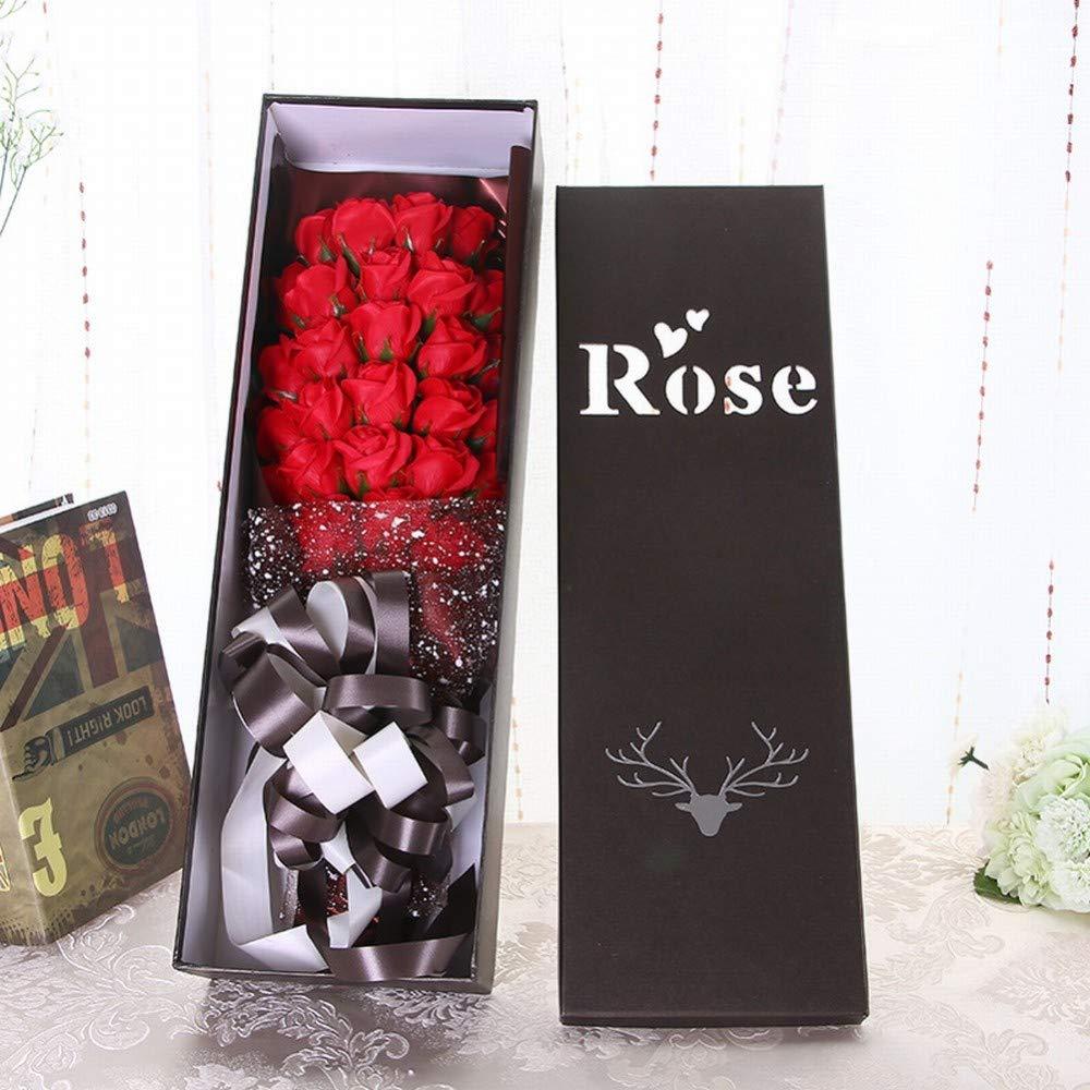 SED Flor Artificial - Jabón Rose Bouquet Caja De Regalo Tanabata Día De San Valentín Creativo Regalo Práctico Cumpleaños Regalo Romántico Simulación Flor, Rojo Brillante,como se Muestra: Amazon.es: Deportes y aire libre