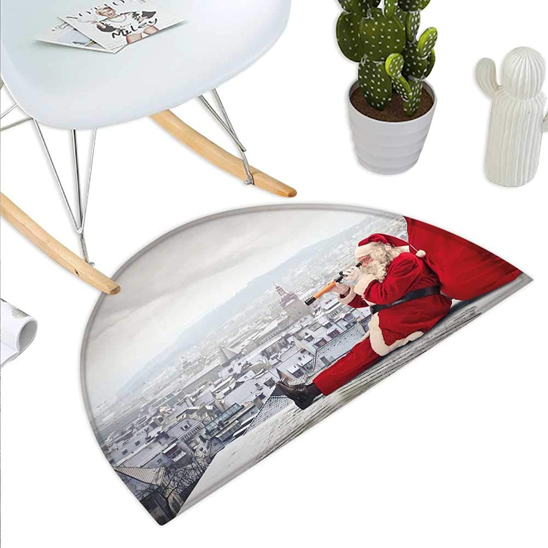 Christmas Semicircle Doormat Santa Claus Sitting on Roof Top Looking Through Binoculars Cloudy Cityscape Halfmoon doormats H 39.3  xD 59  Red Light Grey