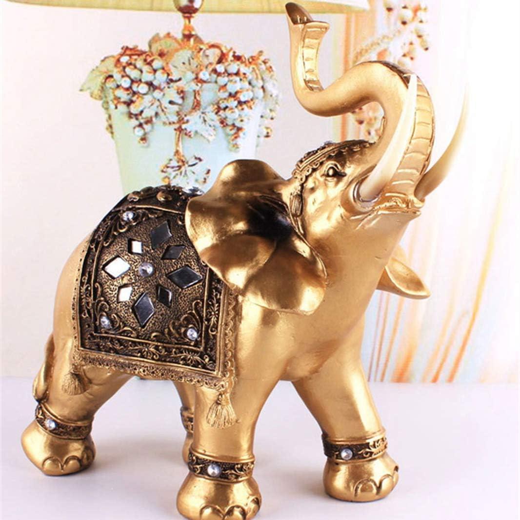 GEPIJPGEKH Home Decor Golden Resin Feng Lucky Statue テレビで話題 Elephant お見舞い Sh