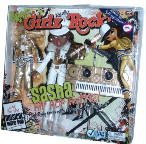 Bratz Girlz Really Rock 10 Inch Doll Playset - SASHA the Hip Hop Hottie with 2 Sets of Outfits, 'Guitar', 'Keyboard' and 'Microphone' with Stand