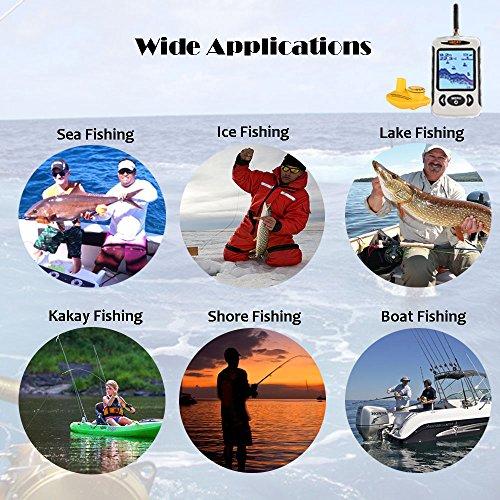 Lucky Portable Wireless Depth Finder, Angeln Sonar Sensor Transducer mit längerer Reichweite Antenne, Fishfinder Alarm mit LCD-Display