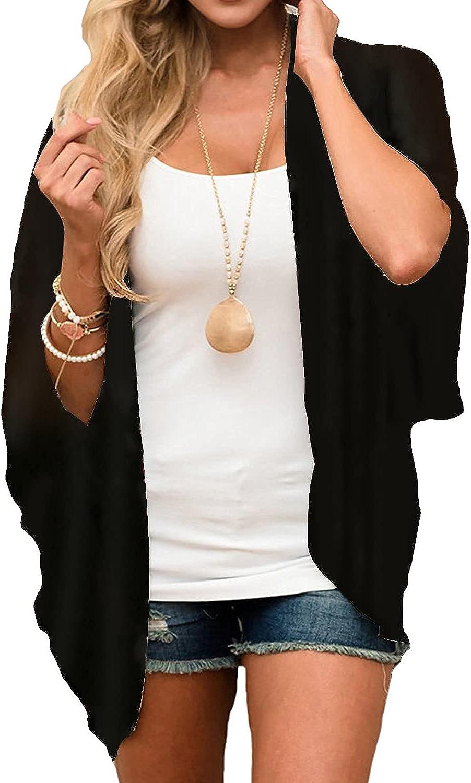 Heynino Sheer Chiffon Kimono Cardigans for Women Open Front Casual Loose Beach Cover up Wraps Outwear