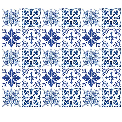 """Wallies Wall Decals,3"""" x 3"""" Blue Tiles Wall Stickers, Set of 30"""