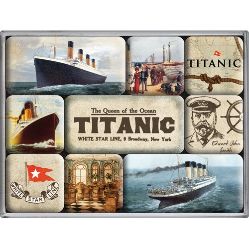 Nostalgic-Art 83027 Ships und Sea - Titanic, Magnet-Set (9teilig)