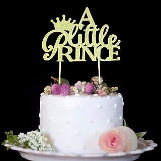 غطاء علوي من A Little Prince with Crown Cake Top for Boy Baby Shower er, Birthday Decorations Party Glitter