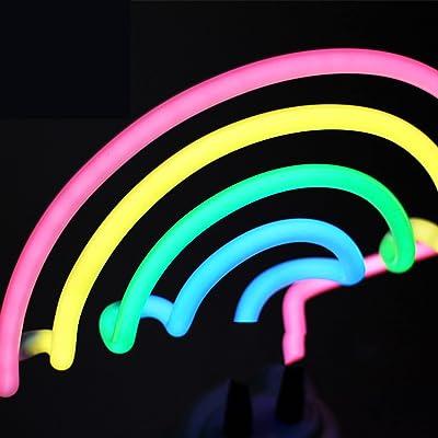 ZNWEATCZ Lampe Arc-en-Ciel, Enseigne Au Néon Arc-en-Ciel, Lampe Au Néon Arc-en-Ciel à La Main, Enseigne Au Néon USB pour Bureau pour La Maison, Boutique,Blanc