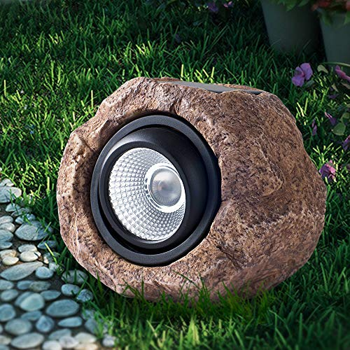 Landscape Rock Light, Solar Powered Garden Lights Outdoor Decorative Waterproof LED Spotlight for Decor, Ground, Driveway, Pathway, Walkway, Yard, Patio