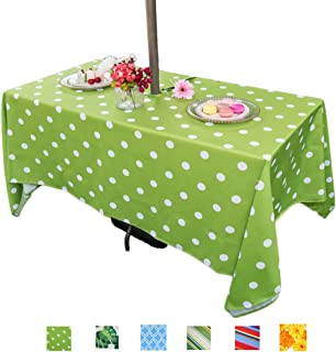 Eternal Beauty Polyester Outdoor Tablecloth Rectangular Spillproof with Umbrella Hole Zipper for Fall Patio Picnic BBQ (Green Polka Dot, 60x84inch)