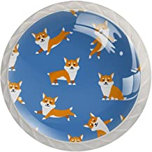Set van 4 Crystal Glass knoppen Cartoon Hond Dressoir Crystal Glass Knoppen Lade Knoppen Hardware voor Dressoirs Kasten Na...