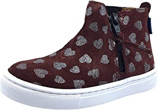 Girl's Heart Print Suede with Side Zip High-Top Sneakers
