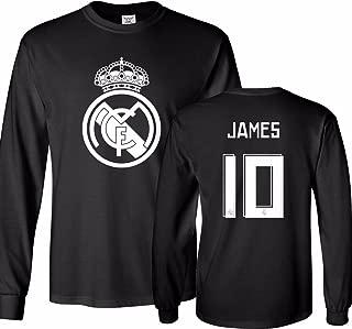 Real Madrid Shirt James Rodriguez #10 Jersey Men's Long Sleeve T-Shirt