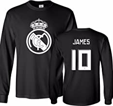 Tcamp Real Madrid Shirt James Rodriguez #10 Jersey Men's Long Sleeve T-Shirt