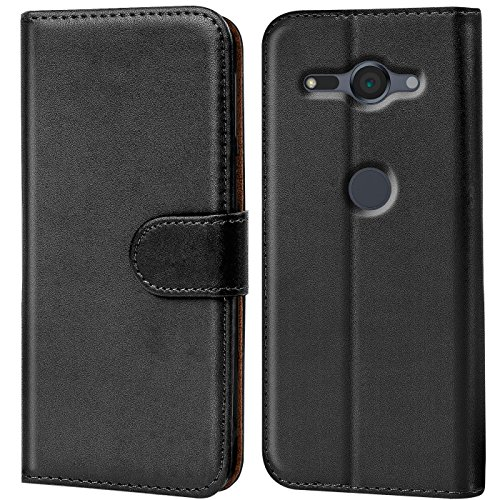 Conie Handyhülle für Sony Xperia XZ2 Compact Hülle, Premium PU Leder Flip Hülle Booklet Cover Weiches Innenfutter für Xperia XZ2 Compact Tasche, Schwarz