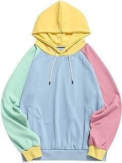 Men's Raglan Sleeve Color Block Side Pockets Drawstring Hoodie Sweatshirt (Light Blue, S)
