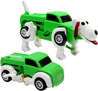 RARITY-US Kids Robot Dog ToysTransform Into Vehicle Trunk Car Clockwork Automatic Wind up Gift for Kids