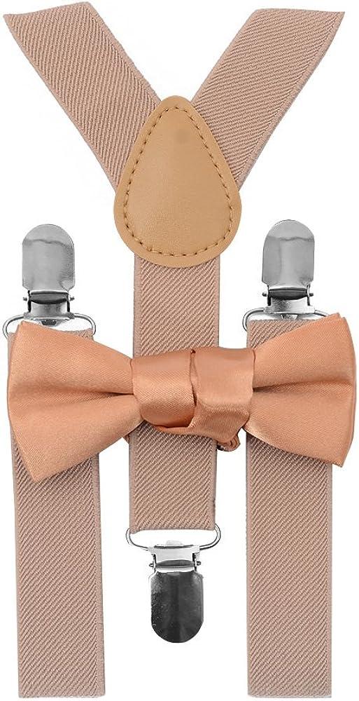 ZUUC Kids Boys Girls Toddler Tuxedo Bow Tie Suspenders Set-With Elastic Adjustable Multi Color Clip-on Suspender