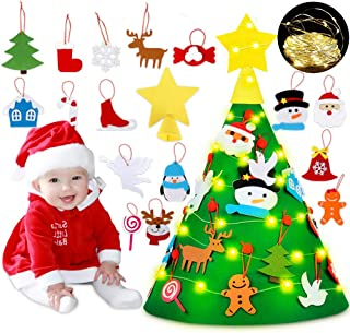 ACPOP 3D DIY Felt Christmas Tree Set with 18Pcs Xmas Hanging Ornaments String Light,New Year Christmas Decorations,Toddlers Gifts,for Kids