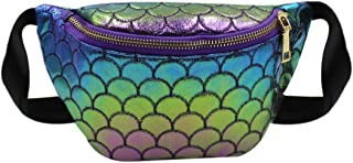 Holoraphic Mermaid Scale Waist Fanny Pack Small Buckle Belt Bag Bum Bag Phone Crossbody Purse for Kids Girls Rave Party Festival Travel
