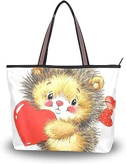 ALAZA Tote-Schulter-Tasche Niedliche Igel Rote Herz-Handtasche Groß
