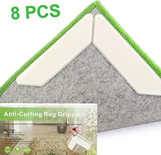 Vencci Rug Grippers 8 Pcs Anti Curling Rug Gripper Makes Corners Flat Carpet Gripper with Carpet Tape Hard Plastic Center Non Slip Rug Pad Carpet Stopper, Indoor Outdoor