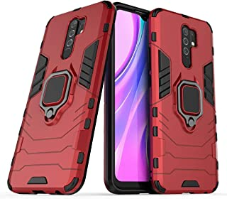 FanTing Case for Xiaomi Poco M2, Rugged and shockproof,with mobile phone holder, Cover for Xiaomi Poco M2-Red