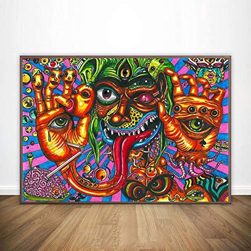 KWzEQ Modernes psychedelisches abstraktes Illusionsplakat-Wandkunstplakat und druckt Wohnzimmerhauptdekoration,Rahmenlose Malerei,30X45cm