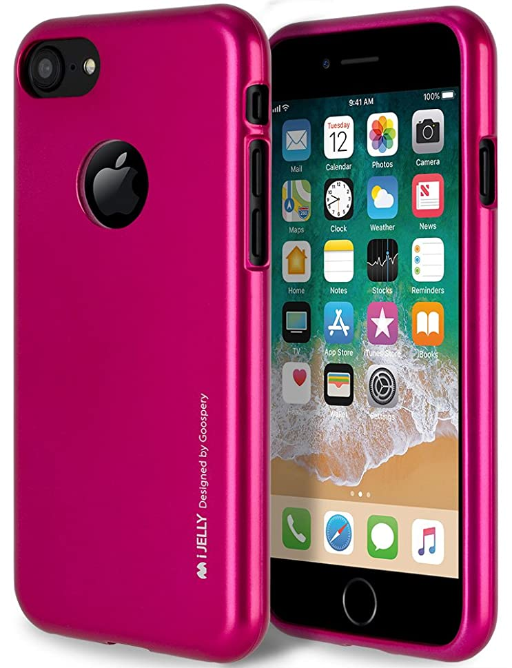 iPhone 8 Case with Free Screen Protector, [Shockproof] GOOSPERY i-Jelly TPU Case [Thin and Slim] Flexible Bumper Cover for Apple iPhone8 - Metallic Hot Pink, IP8-IJEL/SP-HPNK