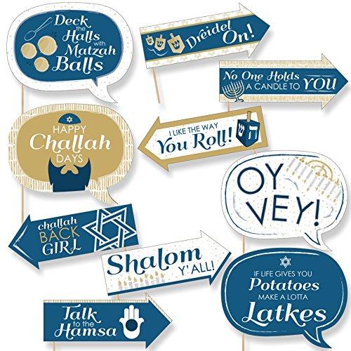 Funny Happy Hanukkah - Chanukah Photo Booth Props Kit - 10 Piece