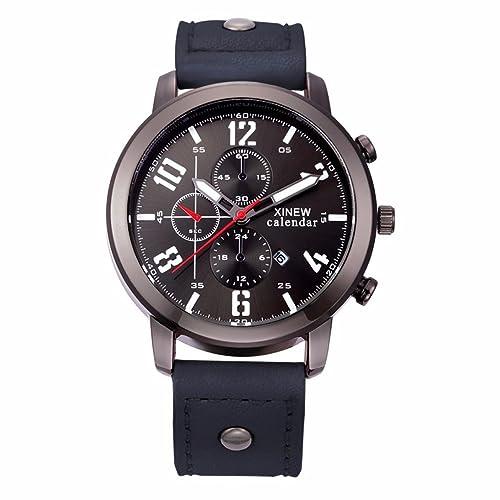 Xinantime Relojes Hombre,Xinan Cuero Deporte del Acero Inoxidable Analógico de Pulsera de Cuarzo (