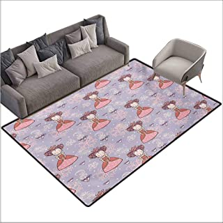 Door Rug for Internal Anti-Slip Rug Tea Party Cute Princess with Teacups Abstract Floral Background Gothic Design Print All Season General W70 xL82 Lilac Pink Coral